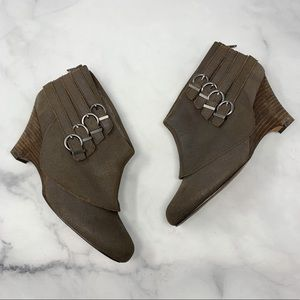 Naughty Monkey Belted Leather Wedge Ankle Booties